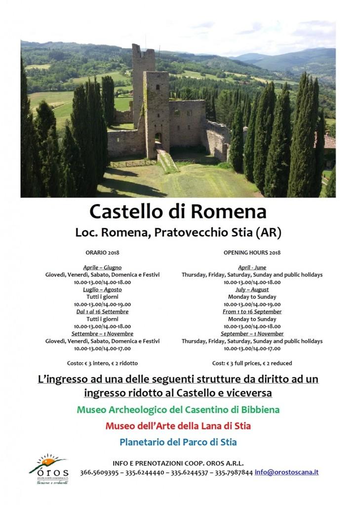 Orari di Apertura 2018 Castello di Romena