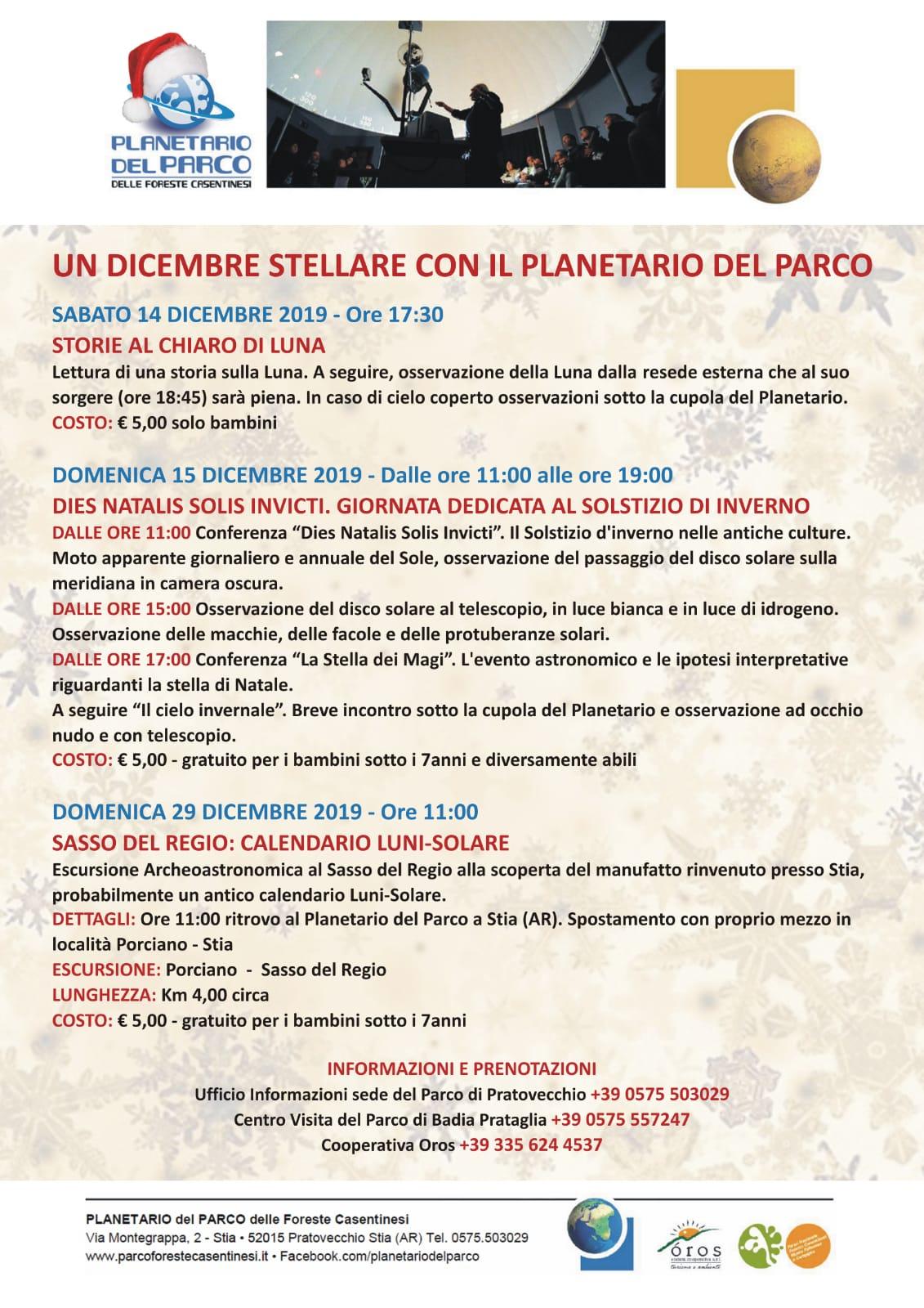 Un Dicembre stellare con il Planetario del Parco